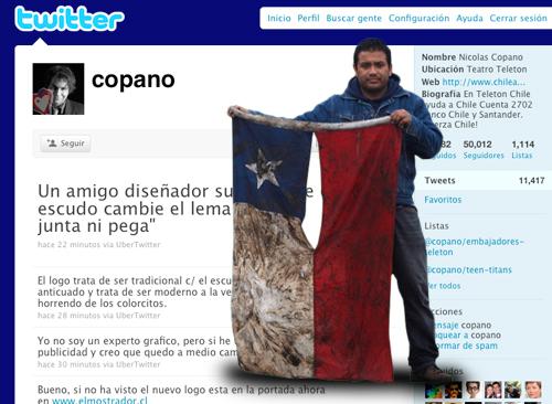 Chileno sobrevive al spam de la cuenta Twitter de @copano - Criscar